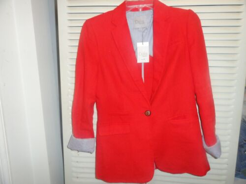DALIA NOTCH COLLAR RED BLAZER WITH BLUE & WHITE PIN STRIPE LINING NWT SMALL