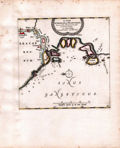 INDIA MARTABAN GULF GANGES 1735 VAN DER AA COVENS & MORTIER COLOR ENGRAVED MAP
