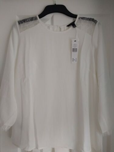 LONG TALL SALLY IVORY LACE TRIM DRAPEY BLOUSE TOP. UK 16, EUR 44, US 12. BNWT