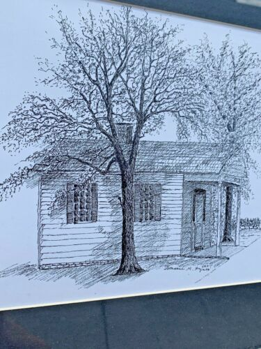 UNIQUE Hayes Pencil Drawing of Antique Primitive Country Store Farm House Art