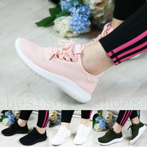 WOMENS LADIES RUNNING TRAINERS LACE UP FLATS GYM FITNESS PUMPS SPORT SHOES SIZE