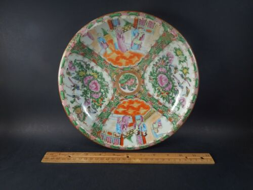 """Large Antique Chinese Famille Rose Canton Medallion Deep Saucer Dish 19th C 10"""""""