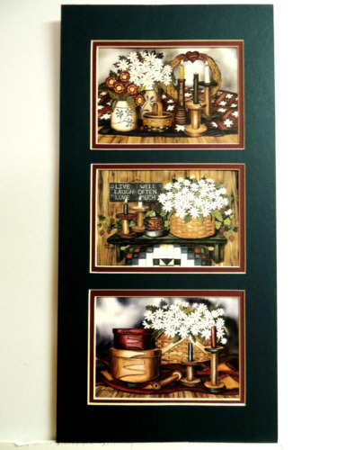 COUNTRY BASKETS DAISY FLOWER PICTURE CROCKS LAURIE KORSGADEN MATTED FRAMED 10X20