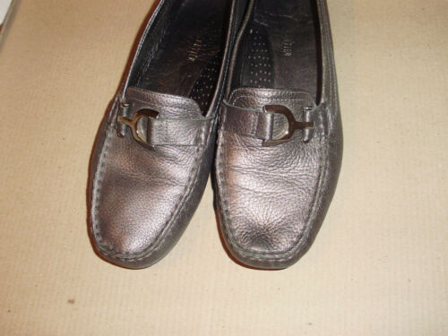 Lady's R Cartier Design Silvery Grey Leather Shoe with Stylish Buckle Sz 4
