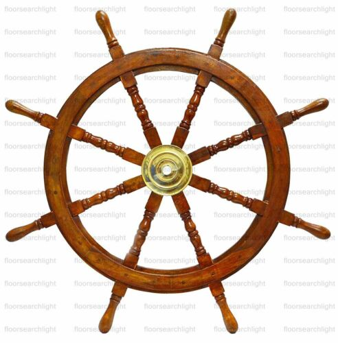"""36"""" Wooden Ship Steering Wheel Brass Antique Vintage Ring Nautical Wall Decor"""