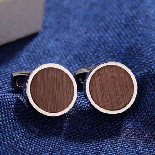 18K Rose/White Gold Filled Round Shaped Brown Face Charming Men`s Cufflinks