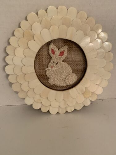 Primitive Punch Needle~Framed Bunny~Shabby Cottage Chic~Country Easter Decor
