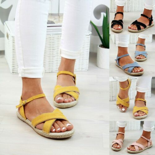 New Womens Flat Sandals Espadrille Studs Cross Strap Comfy Holiday Shoes Sizes