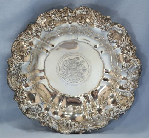 Whiting Manufacturing Co. Repousse Violet Motif Sterling Silver Bowl Circa 1900