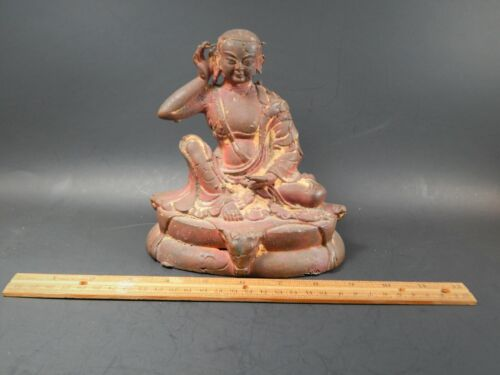 Unique Antique Metal Casting Model of a Milarepa Buddha Tibet or Nepal  6 3/8""