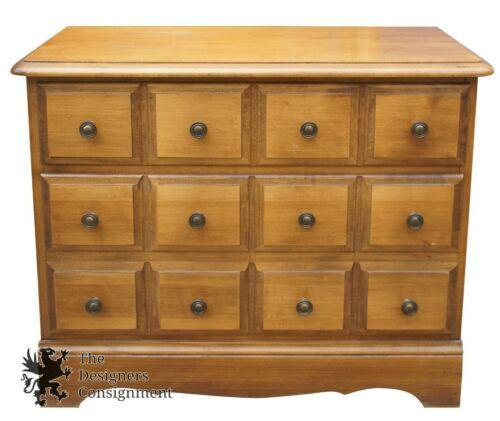 Maple Apothecary Chest 3 Drawer Dresser Early American Colonial Style 2515