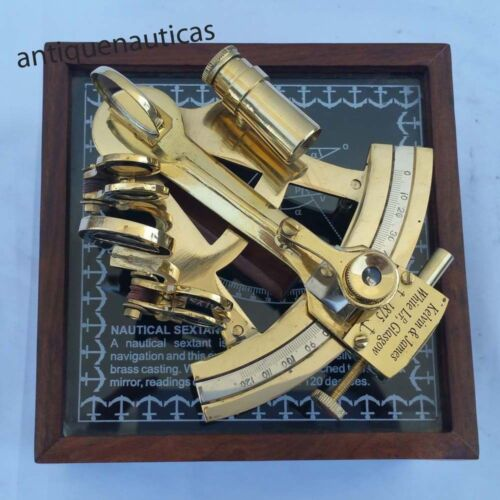 Collectible Nautical Marine Office Desktop Solid Brass Sextant With Rosewood Box