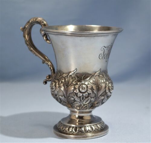 Hamilton & Co. Calcutta Sterling Silver Floral Repousse Chased Cup Circa 1900