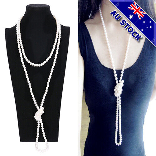 Flapper Party Costume Gangster 180cm Long Bead Pearl Necklace 1920's 30's 40's