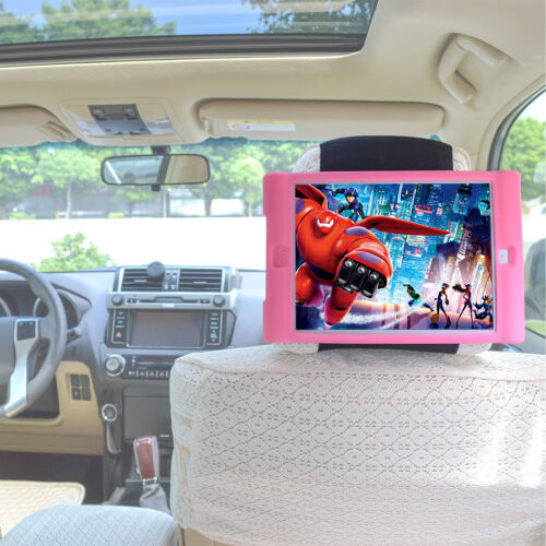 TFY Kids Car Headrest Mount Silicon Holder for Tablet i Pad Air 2 - Pink Travel
