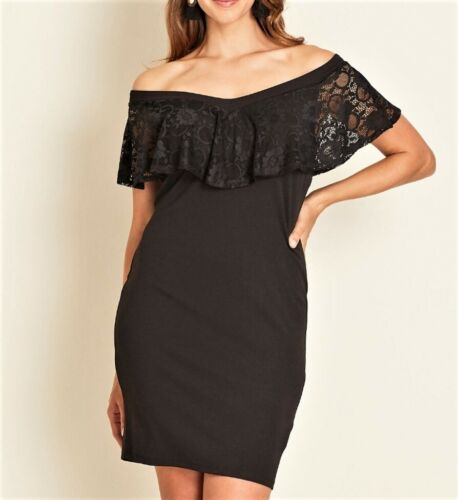 Crossroads Black Sleeveless Off The Shoulder Lace Bodice Dress Size 18 RRP$89.99