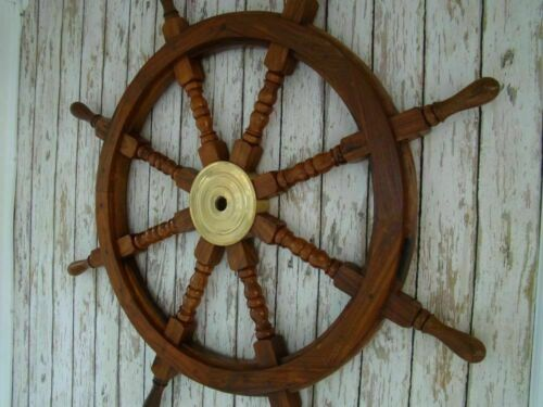 """36"""" Wooden Ship Steering Wheel Brass Ring Vintage Wall Decor Nautical Antique"""