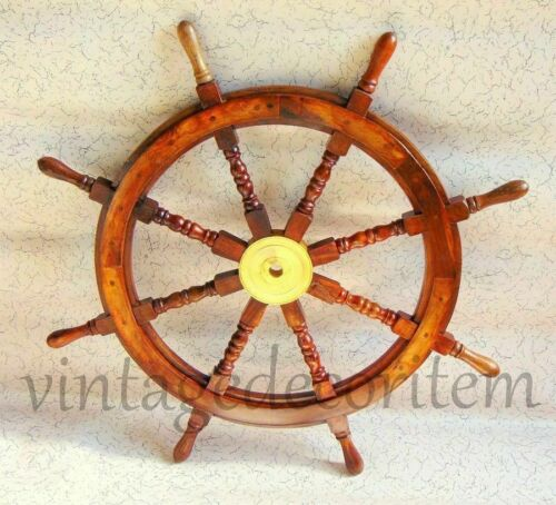 Wooden Steering Maritime Boat Ships Wheel Captains Nautical Beach Ship Wheel 36""