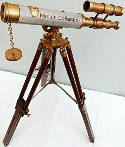 """TELESCOPE 18"""" Antique Brass Double Barrel With Vintage Nautical Tripod Stand"""