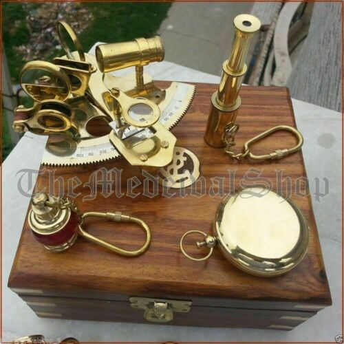 Nautical Brass Gift Set Vintage Maritime Compass/Telescope/Sextant W/Wooden Box