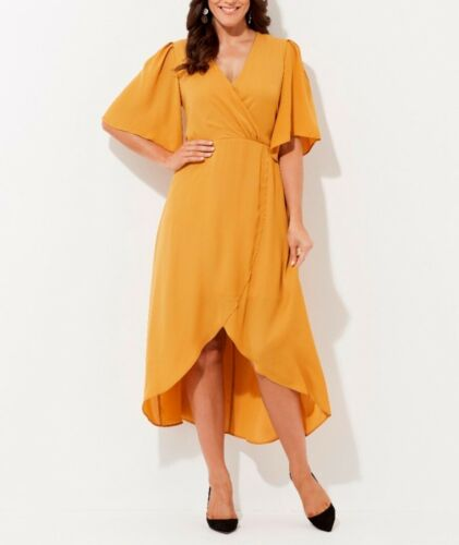 Crossroads Mustard Crossover Flared Sleeves Maxi Dress & Gathered Waist Size 16