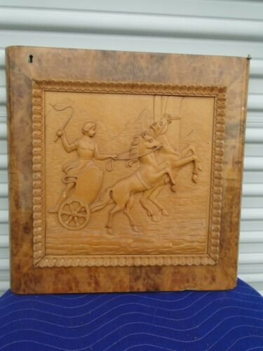 Antique French Architectural Carved Plaque Panel Door Horse & Chariot
