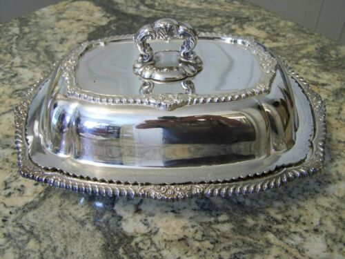 GORHAM CLASSIC ROYAL STYLE SILVER DOUBLE ENTREE COVERED SERVER SERVING TRAY