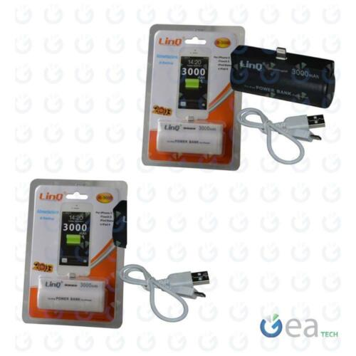 LinQ POWER BANK 3000Mah CaricaBatterie Compact per iPhone 5, iTouch, iPod Nano 7