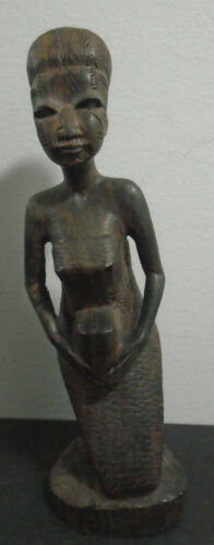 """ANTIQUE HAND CARVED WOOD FEMALE WOMAN AFRICAN TRIBAL FIGURE 6.5"""""""