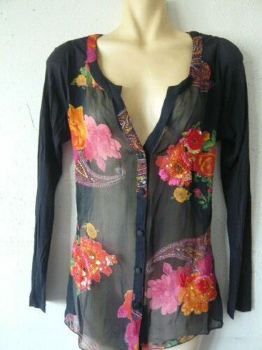 Black red orange flowers floral beaded shirt top blouse Rene Derhy size S excon