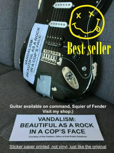 VANDALISM Beautiful as a rock in a cop's face STICKER Decal Cobain guitar Strat