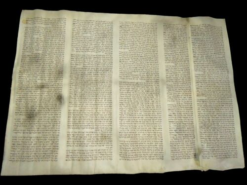 "TORAH SCROLL BIBLE MANUSCRIPT FRAGMENT 200 YRS Germany ""The Holy Tabernacle"""