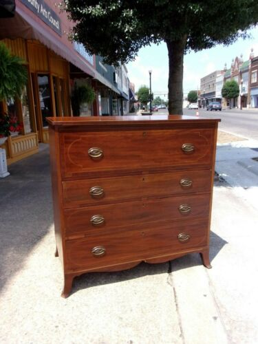 Butler's Mahogany Hepplewhite Four Drawer Chest with Brass Hardware 19thc