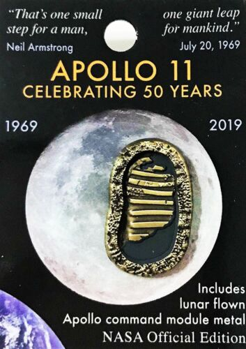APOLLO 11 - 50th Anniversary - Lunar FLOWN METAL NASA Official Pin COA MINT