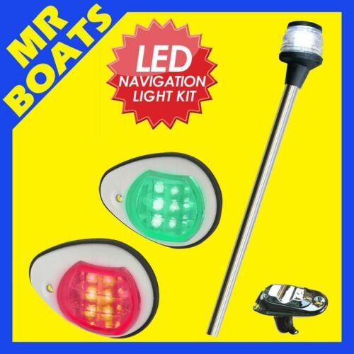 12V 60CM REMOVEABLE BOAT PLUG IN LED ANCHOR ALL ROUND WHITE NAVIGATION LIGHT