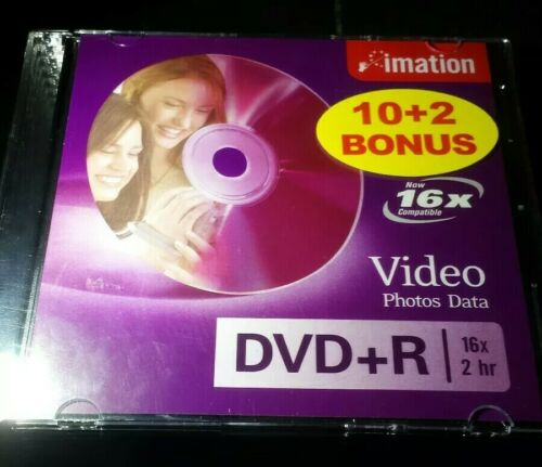 Imation DVD+R 16x2hr 10 +2 Factory Sealed