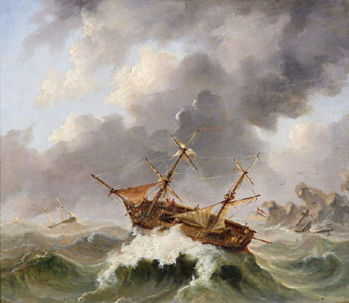 ZWPT443 100% hand-painted sai boat & big sea wave art oil painting on canvas