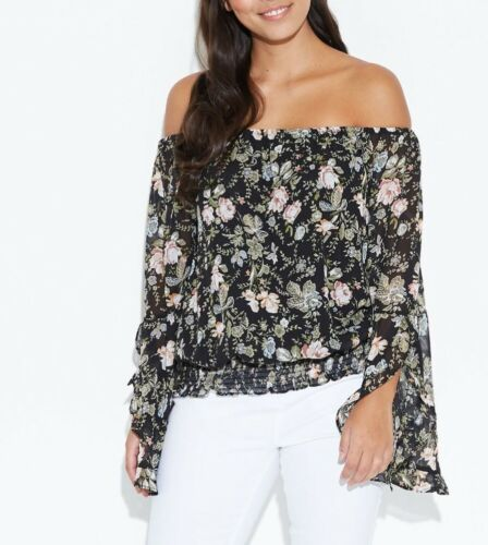 Crossroads Black Chic Design Floral Off The Shoulders Ruffle Sleeves Top Size 20