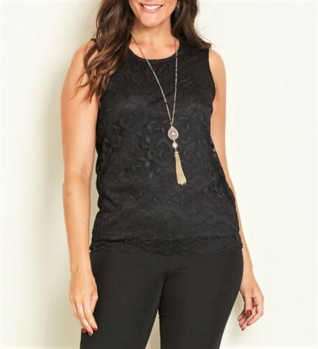 Crossroads Elegant Black Gypsy Rose Lace Sleeveless Top Size 16 OR L