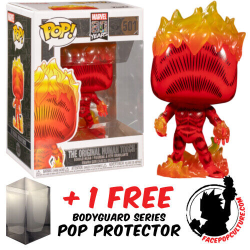 FUNKO POP MARVEL FANTASTIC FOUR HUMAN TORCH FIRST APPEARANCE + POP PROTECTOR