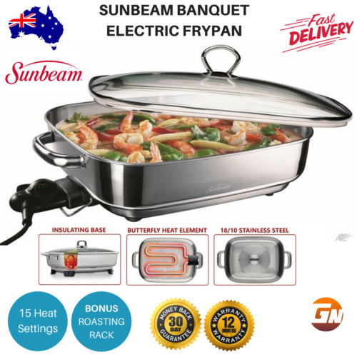 Sunbeam Banquet Frypan Stainless Steel Electric Fry Pan Glass Lid Skillet Cooker