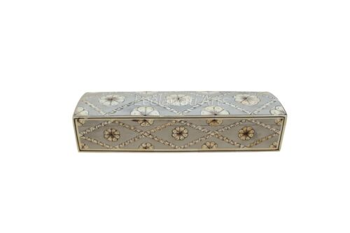 Handmade Antique Style Bone Inlay Hand Painted Floral Design Pen Box Watch Box