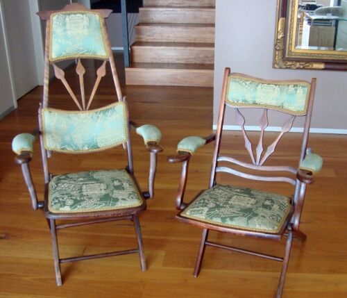 Antique Edwardian yatching or garden folding armchairs - His and Hers