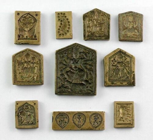 *SC*BEAUTIFUL COLLECTION OF 10 INDIAN HINDU SEALS, ca. 19th. century!