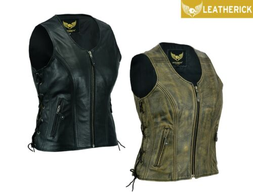 Men/'s Motorcycle New Style Spanish Braid Suede Vest with Clips Size S 5XL
