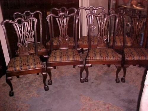 Antique Chippendale Period Chairs Set (8)