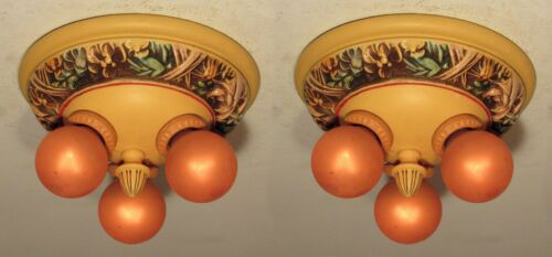 3 Available! One Antique Floral Three Bulb Light Fixture Professionally Restored