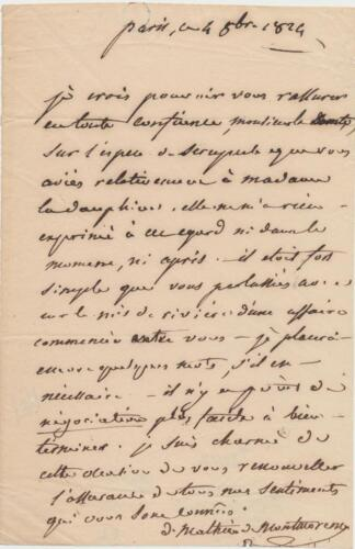 French diplomat Mathieu Montmorency signed letter 1824 from Paris in French