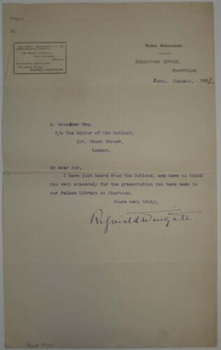Reginald Wingate signed letter 1902 from Khartoum Sudan - UK African administatr