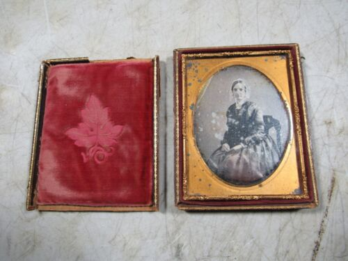 Antique Ambrotype 1800's Photo Leather Case Boston USA Daguerreotype